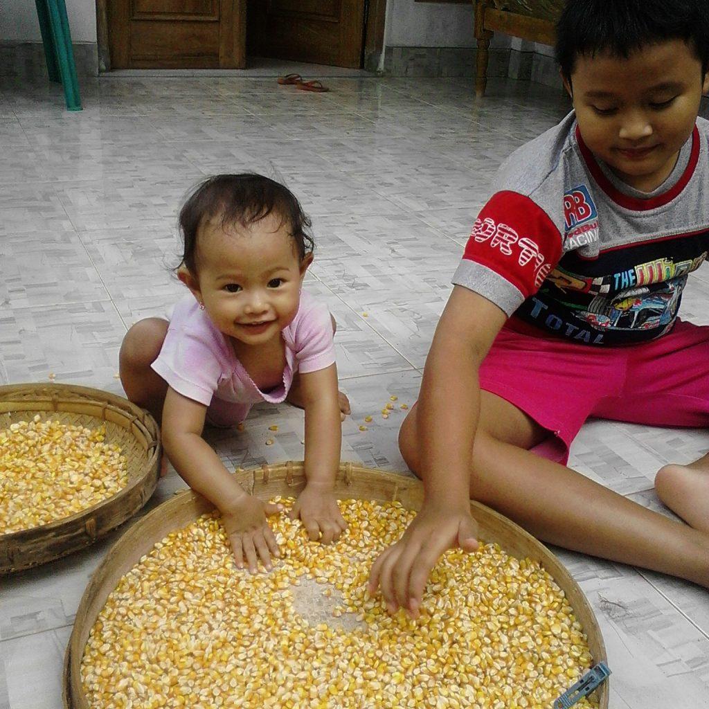 Jagung yang dijemur pemberian dari hasil panen tetangga pun bisa jadi sarana bermain anak-anak